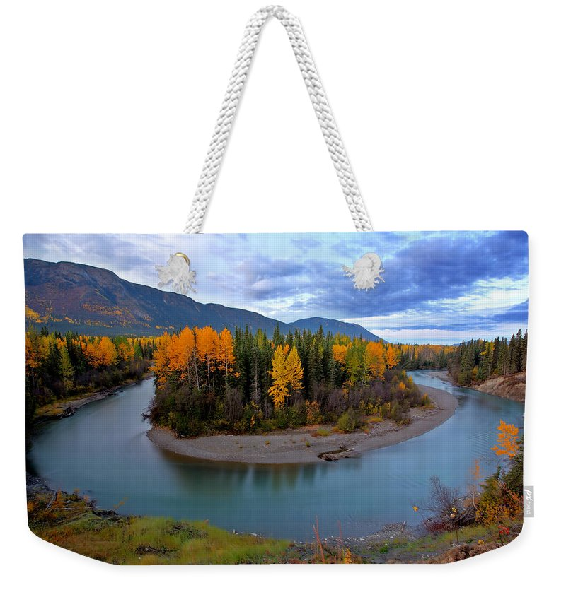 River Weekender Tote Bag featuring the digital art Autumn Colors Along Tanzilla River In Northern British Columbia by Mark Duffy