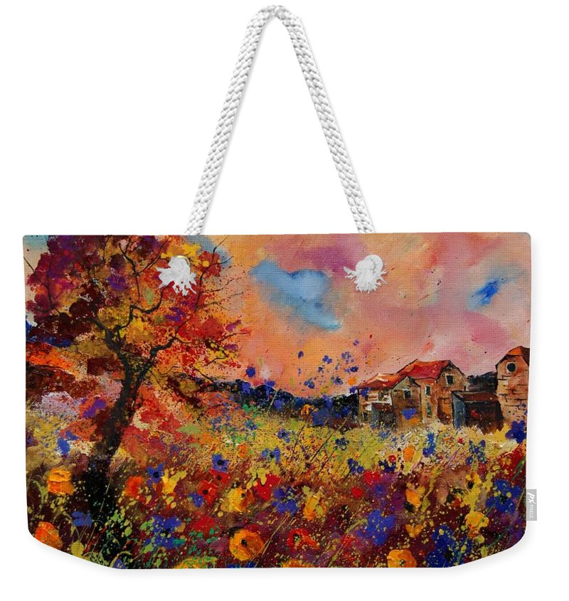 Poppies Weekender Tote Bag featuring the painting Autumn Colors by Pol Ledent