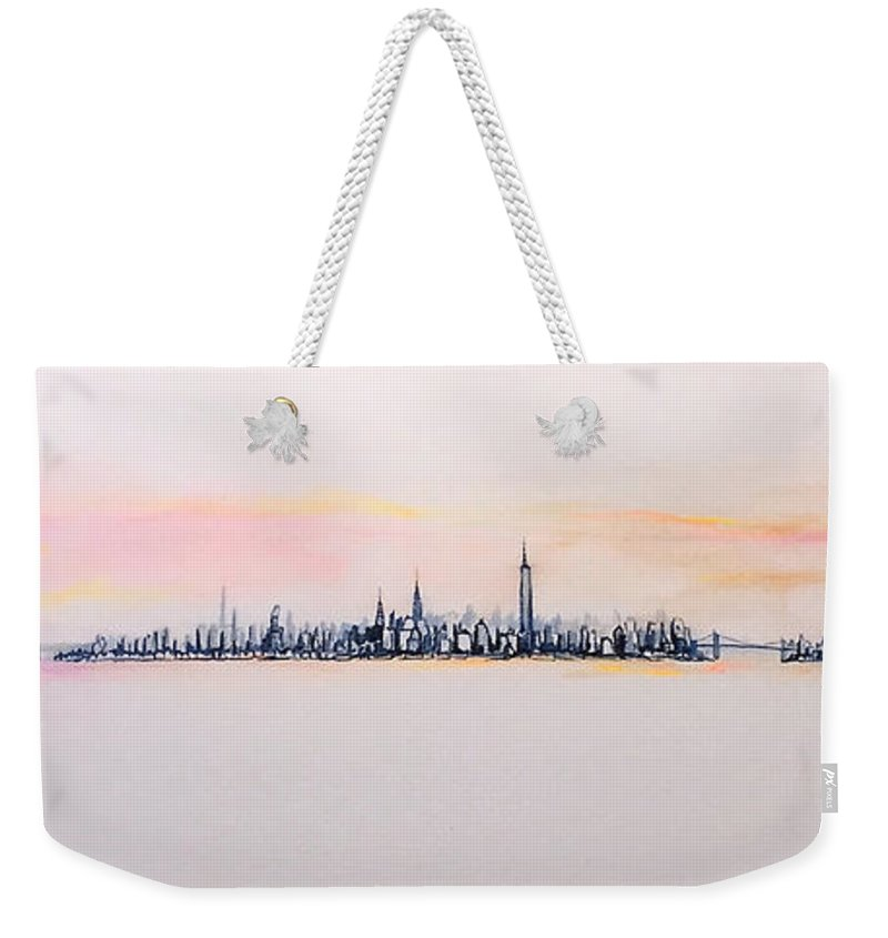 Jack Weekender Tote Bag featuring the painting Autumn Comes To Manhattan by Jack Diamond