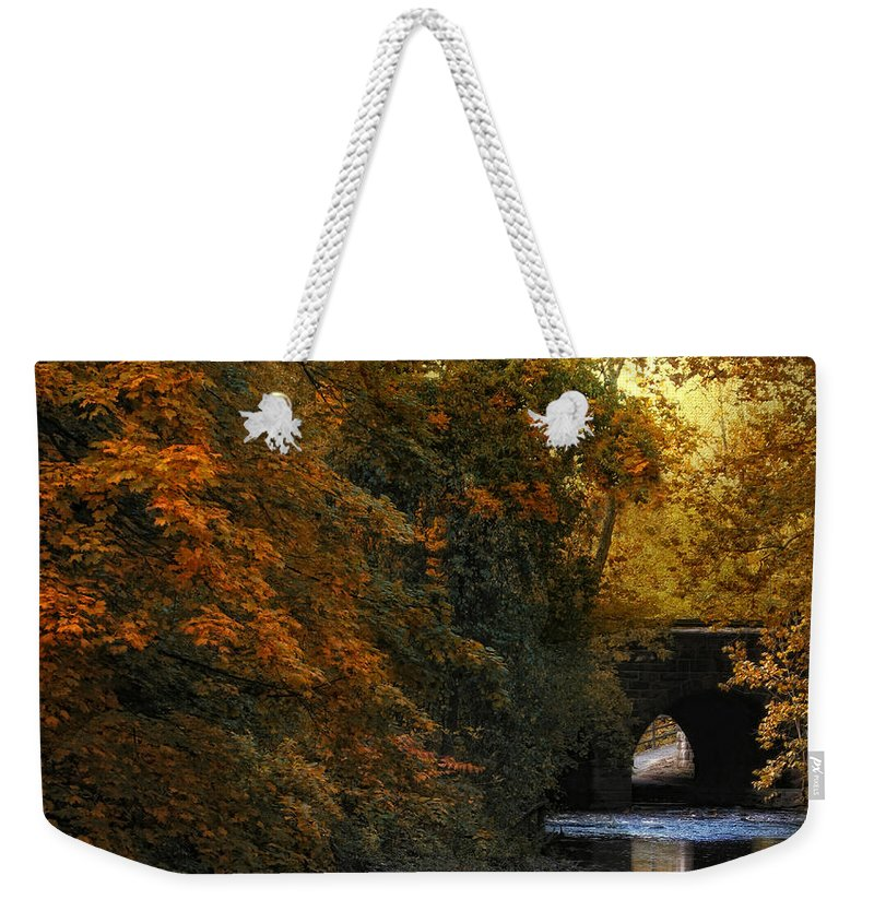 Autumn Weekender Tote Bag featuring the photograph Autumn Country Bridge by Jessica Jenney