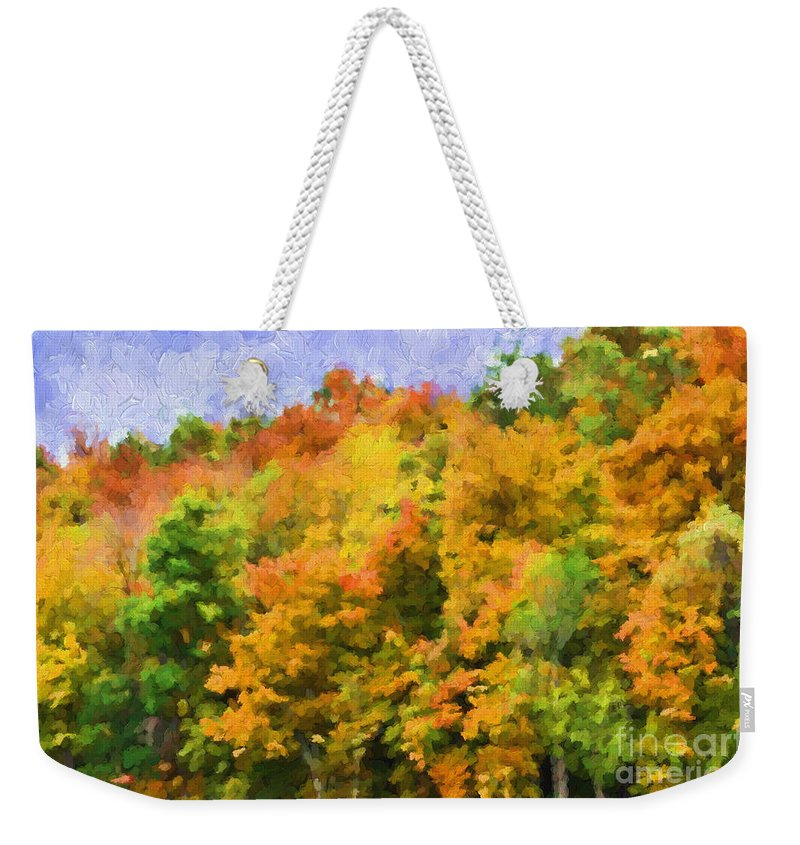 Autumn Weekender Tote Bag featuring the photograph Autumn Country On A Hillside II - Digital Paint by Debbie Portwood