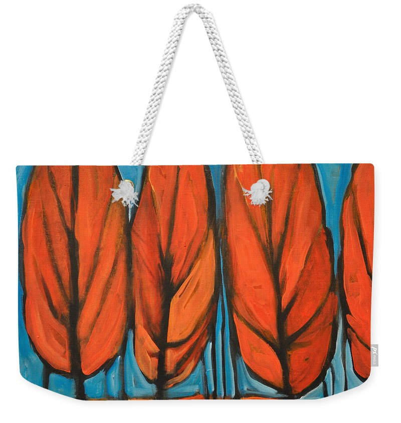 Fall Weekender Tote Bag featuring the painting Autumn Dance by Tim Nyberg