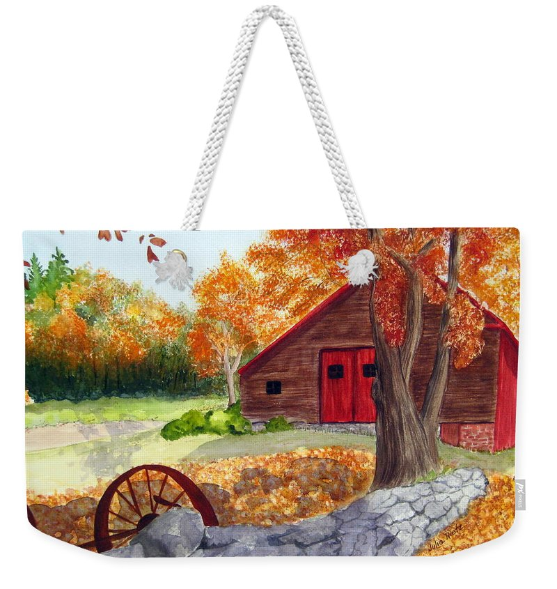 Barn Weekender Tote Bag featuring the painting Autumn Day by Julia Rietz