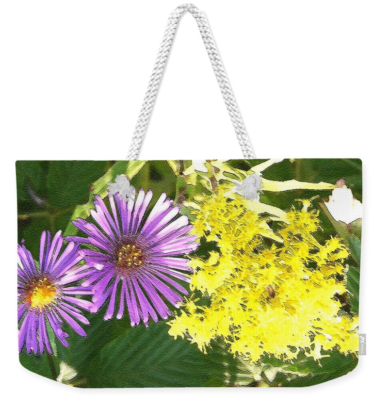 Aster Weekender Tote Bag featuring the photograph Autumn Duo by Nelson Strong