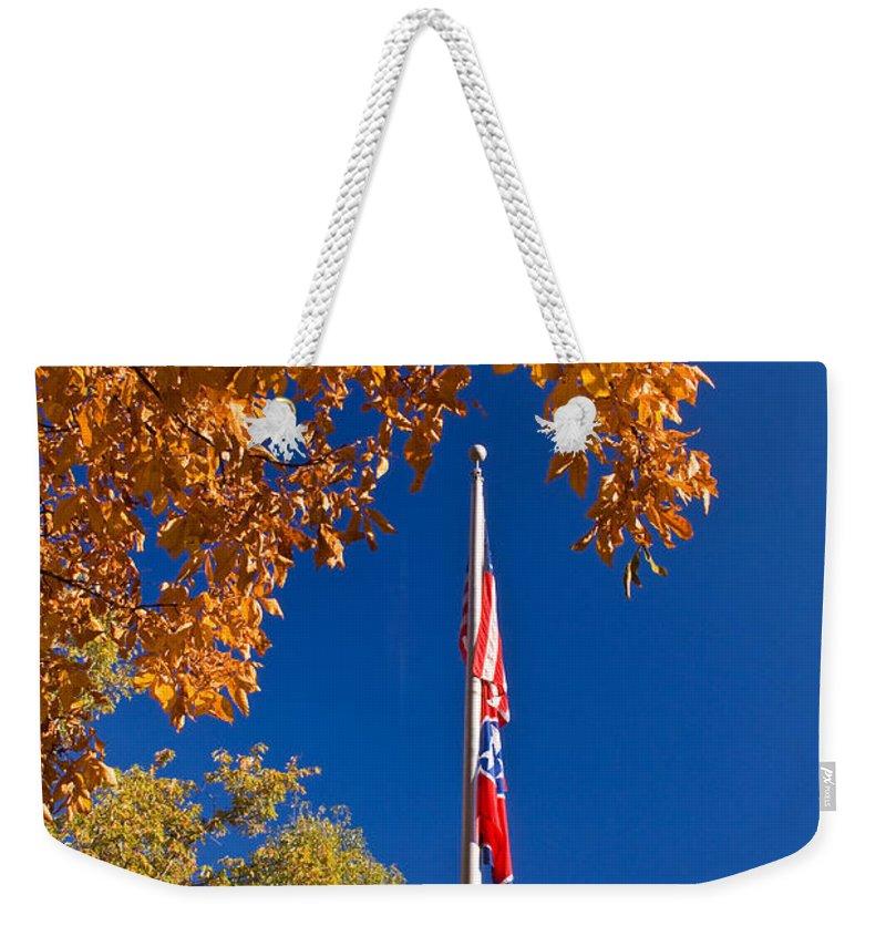 Flag Weekender Tote Bag featuring the photograph Autumn Flag by Douglas Barnett