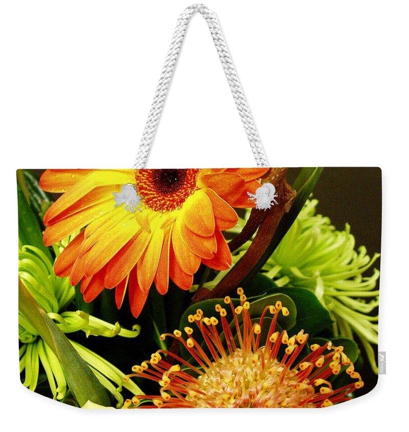 Autumn Weekender Tote Bag featuring the photograph Autumn Flower Arrangement by Nancy Mueller