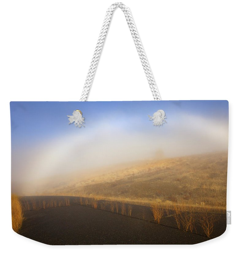 Fog Bow Weekender Tote Bag featuring the photograph Autumn Fog Bow by Mike Dawson
