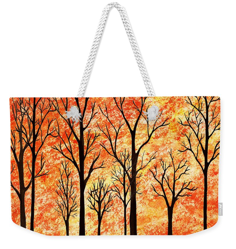 Autumn Weekender Tote Bag featuring the painting Autumn Forest Abstract by Irina Sztukowski