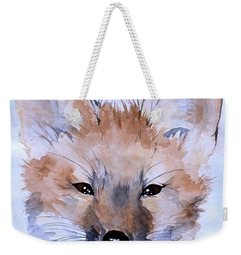 Fox Weekender Tote Bag featuring the painting Autumn Fox by Jean Blackmer
