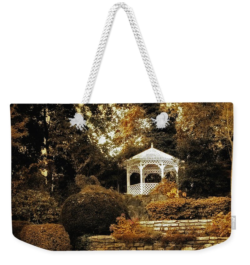 Gazebo Weekender Tote Bag featuring the photograph Autumn Gazebo by Jessica Jenney