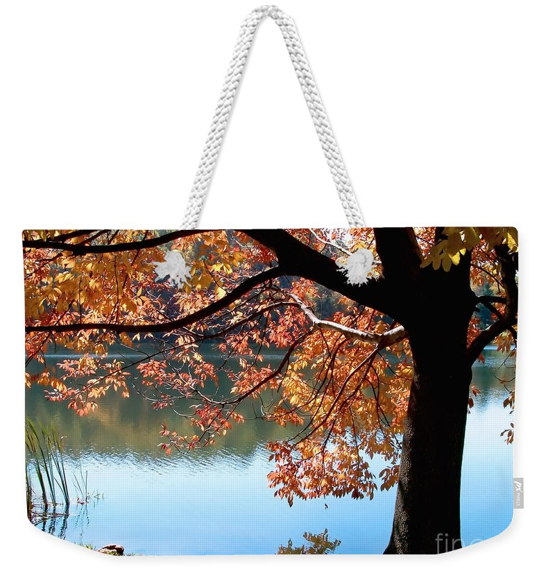 Lake Weekender Tote Bag featuring the photograph Autumn Glory by Karin Everhart