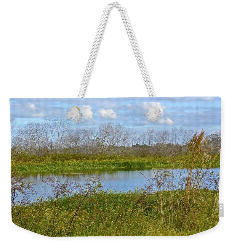 Landscape Weekender Tote Bag featuring the photograph Autumn Gold by Carol Bradley