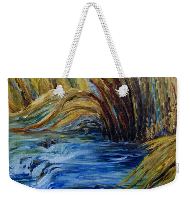 Autumn Grasses Weekender Tote Bag featuring the painting Autumn Grasses by Joanne Smoley