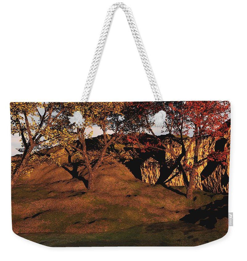 Autumn Weekender Tote Bag featuring the digital art Autumn Grove by David Lane