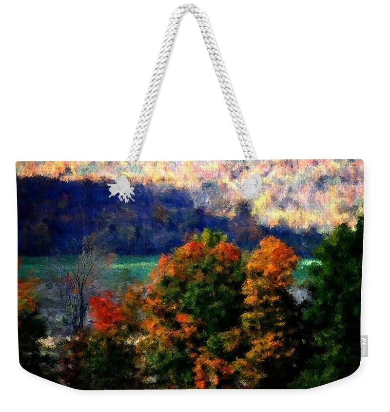 Digital Photograph Weekender Tote Bag featuring the photograph Autumn Hedgerow by David Lane