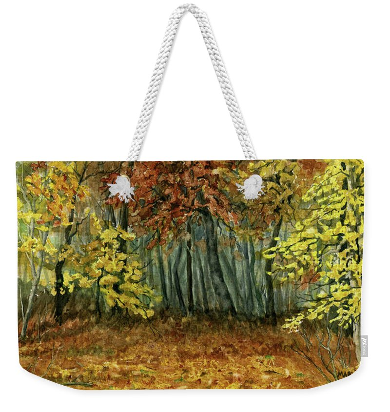 Autumn Weekender Tote Bag featuring the painting Autumn Hollow by Mary Tuomi