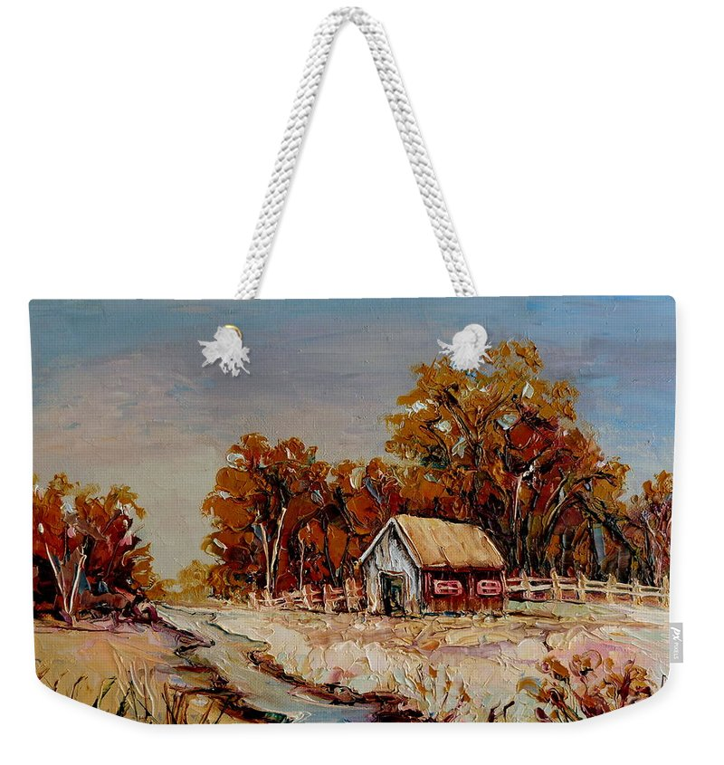 Autumn House By The Stream Weekender Tote Bag featuring the painting Autumn House By The Stream by Carole Spandau