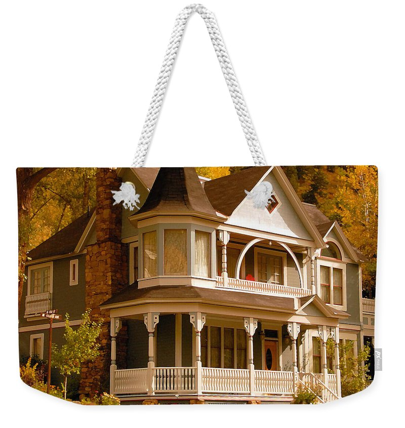 Autumn Weekender Tote Bag featuring the painting Autumn House by David Lee Thompson