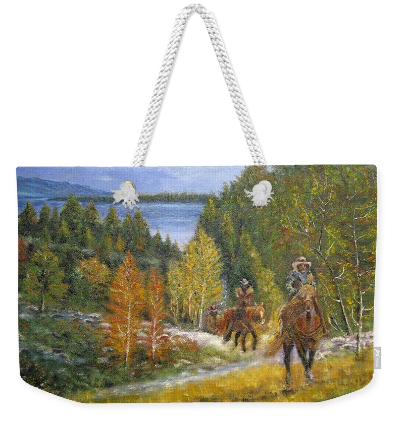 Landscape Weekender Tote Bag featuring the painting Autumn In Big Bear, 18x24, Oil, '08 by Lac Buffamonti