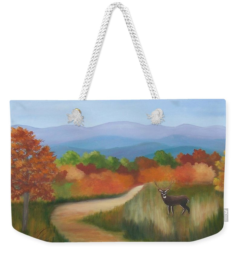 Mountains Weekender Tote Bag featuring the painting Autumn In Blue Ridge Mountains Virginia by Ruth Housley
