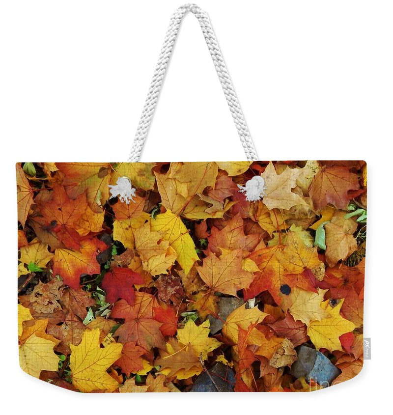 Leaves Weekender Tote Bag featuring the photograph Autumn In Canada by Reb Frost
