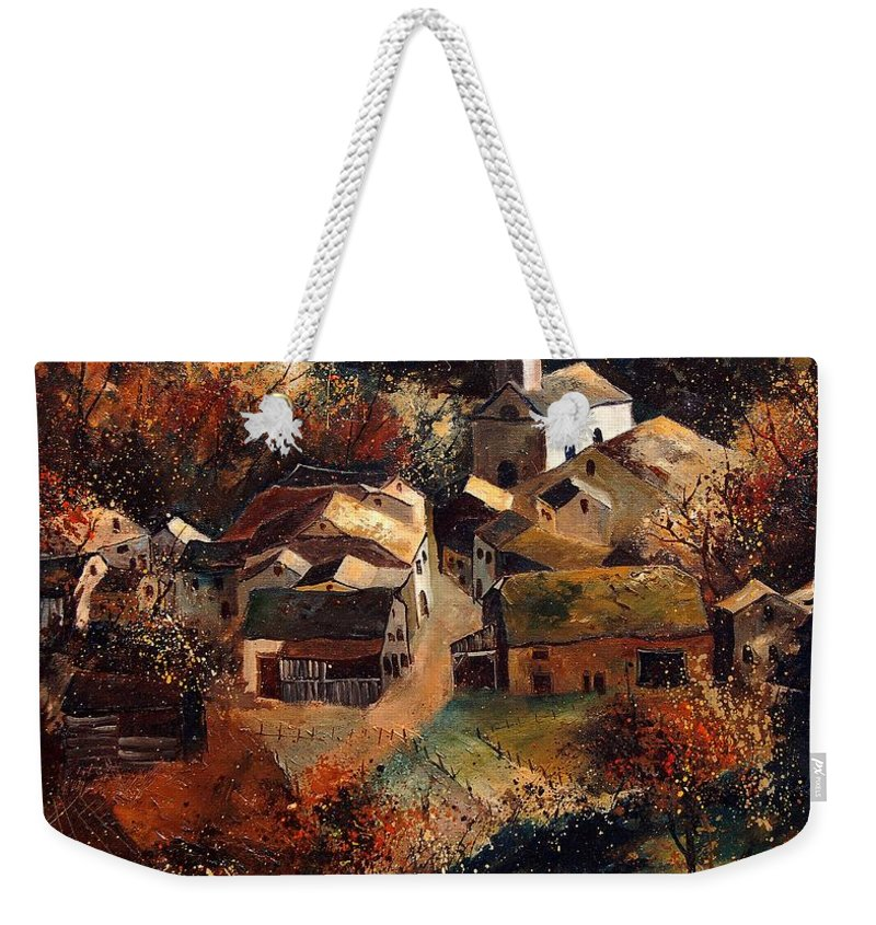 Tree Weekender Tote Bag featuring the painting Autumn In Frahan by Pol Ledent