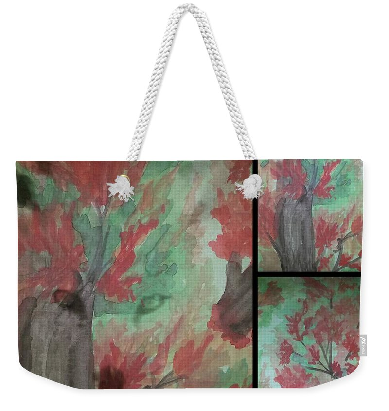 Autumn In My Sould Triptych Weekender Tote Bag featuring the painting Autumn In My Soul Triptych by Maria Urso