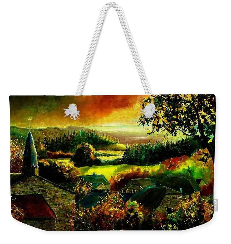 Landscape Weekender Tote Bag featuring the painting Autumn In Our Village Ardennes by Pol Ledent