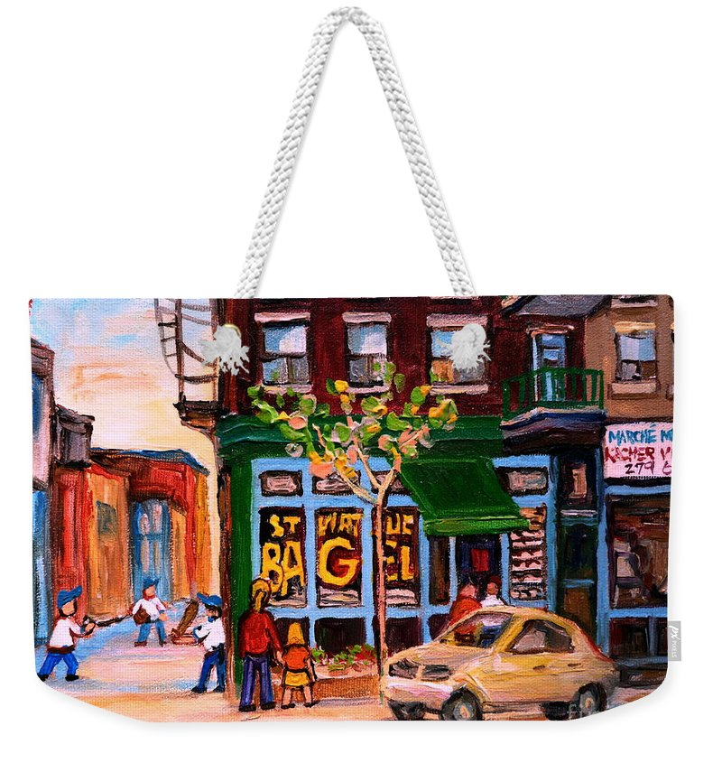 St.viateur Bagel Weekender Tote Bag featuring the painting Autumn In The City by Carole Spandau