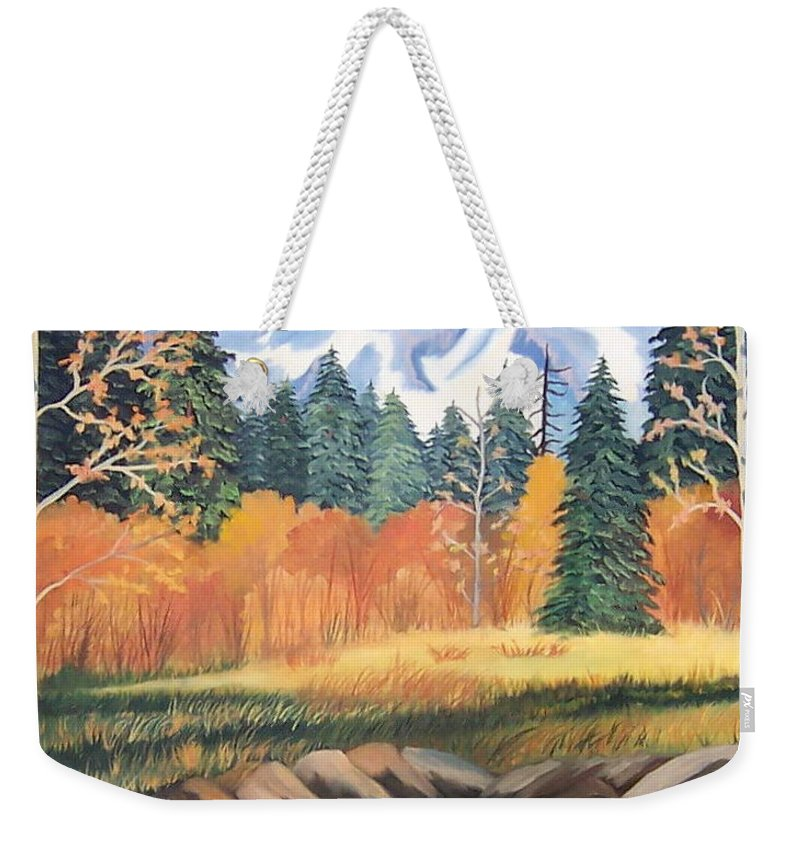 Landscape Weekender Tote Bag featuring the painting Autumn In The Mountans by Ruth Housley