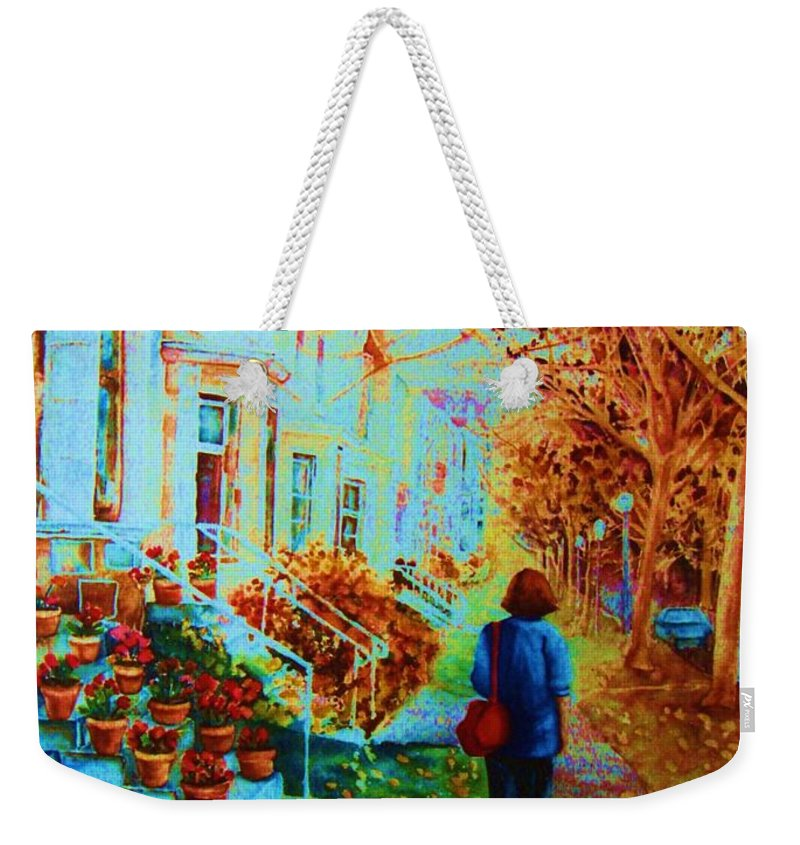 Montreal Weekender Tote Bag featuring the painting Autumn In Westmount by Carole Spandau