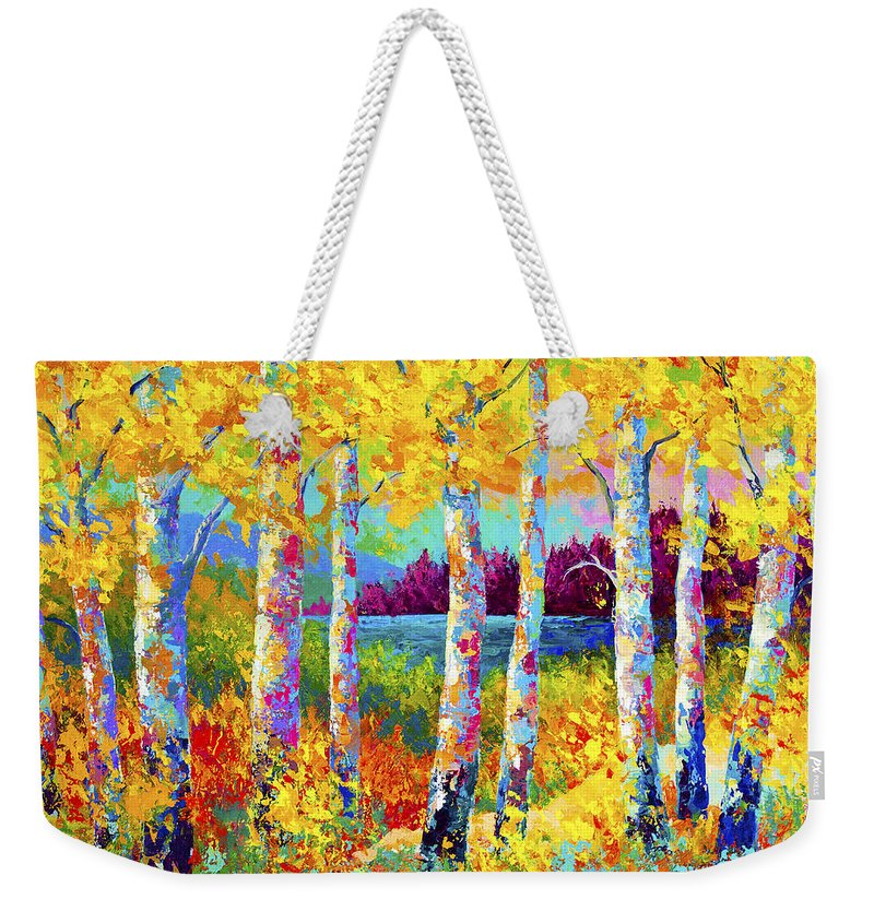 Trees Weekender Tote Bag featuring the painting Autumn Jewels by Marion Rose