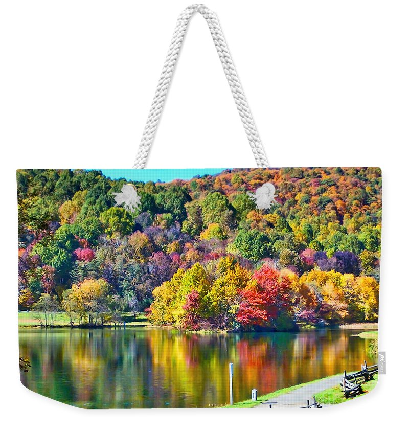 Lake Weekender Tote Bag featuring the photograph Autumn Lake by Karin Everhart