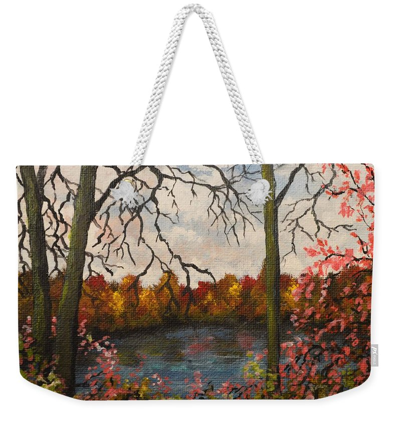 Autumn Weekender Tote Bag featuring the painting Autumn Lake View by Kimberly Benedict