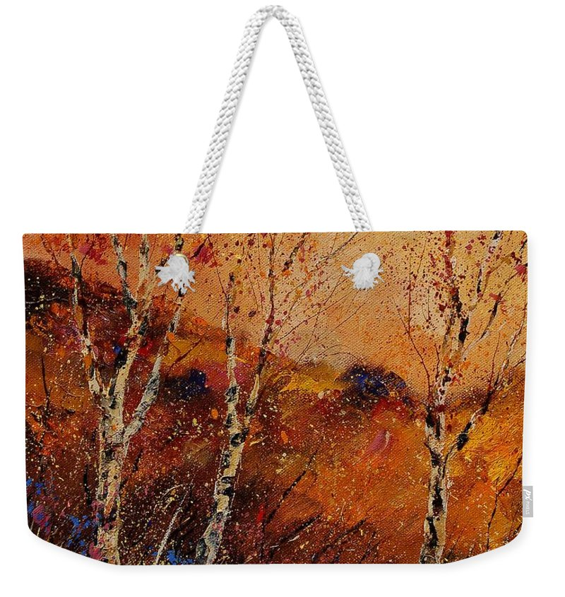 Tree Weekender Tote Bag featuring the painting Autumn Landscape 45 by Pol Ledent