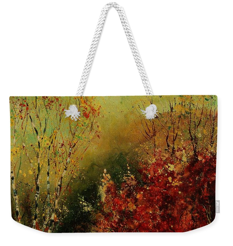 Tree Weekender Tote Bag featuring the painting Autumn Lanfscape by Pol Ledent