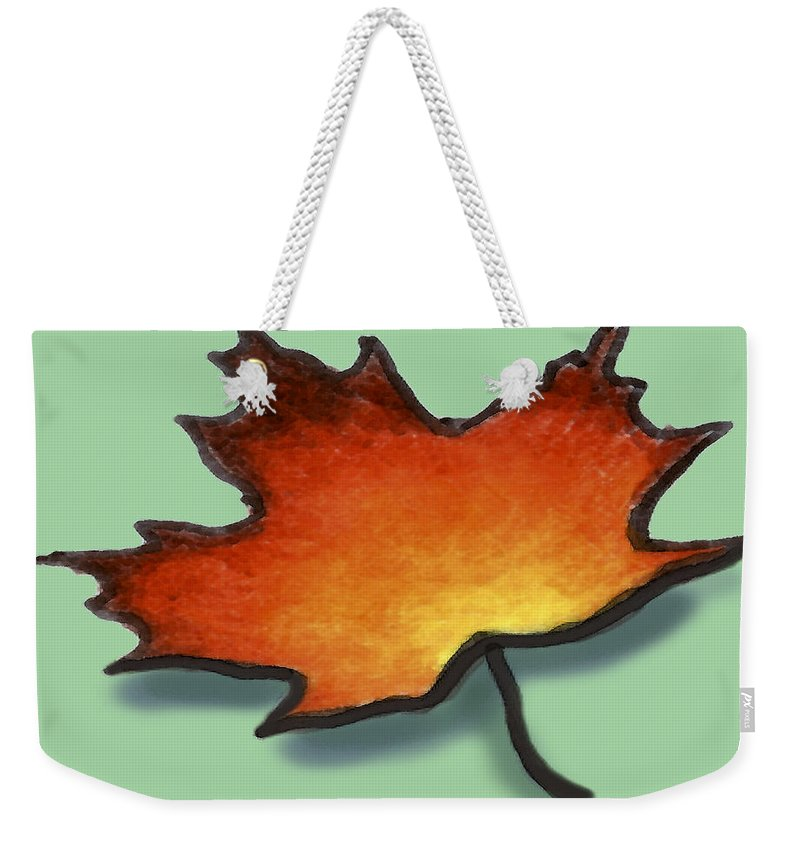 Leaf Weekender Tote Bag featuring the greeting card Autumn Leaf by Kevin Middleton