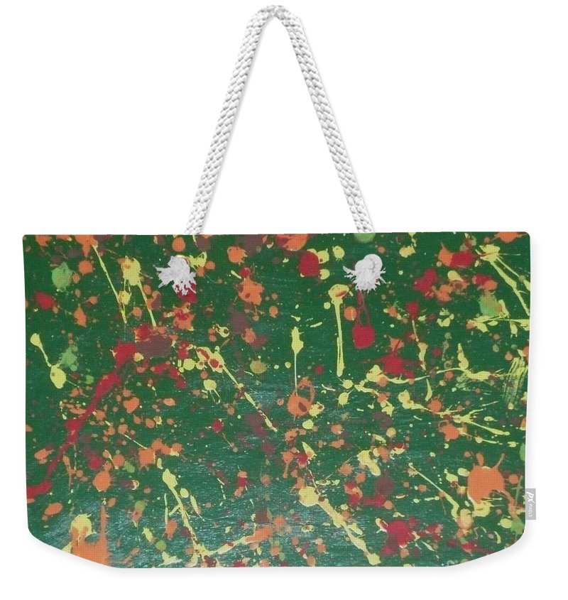 Green Weekender Tote Bag featuring the painting Autumn Leaves by Barb Montanye Meseroll