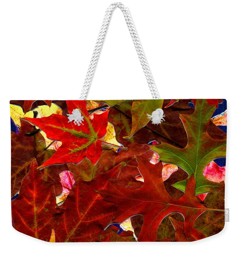 Collage Weekender Tote Bag featuring the photograph Autumn Leaves by Nancy Mueller
