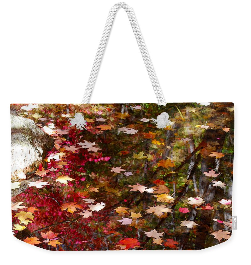 Trees Weekender Tote Bag featuring the photograph Autumn Leaves Reflections by Nancy Mueller