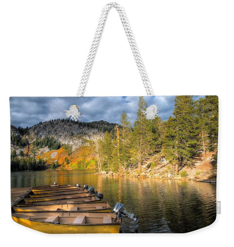 Autumn Weekender Tote Bag featuring the photograph Autumn Light At The Lake by Lynn Bauer