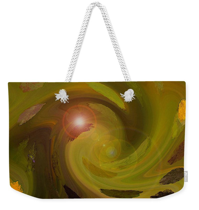Digital Painting Abstract Weekender Tote Bag featuring the digital art Autumn Light by Linda Sannuti
