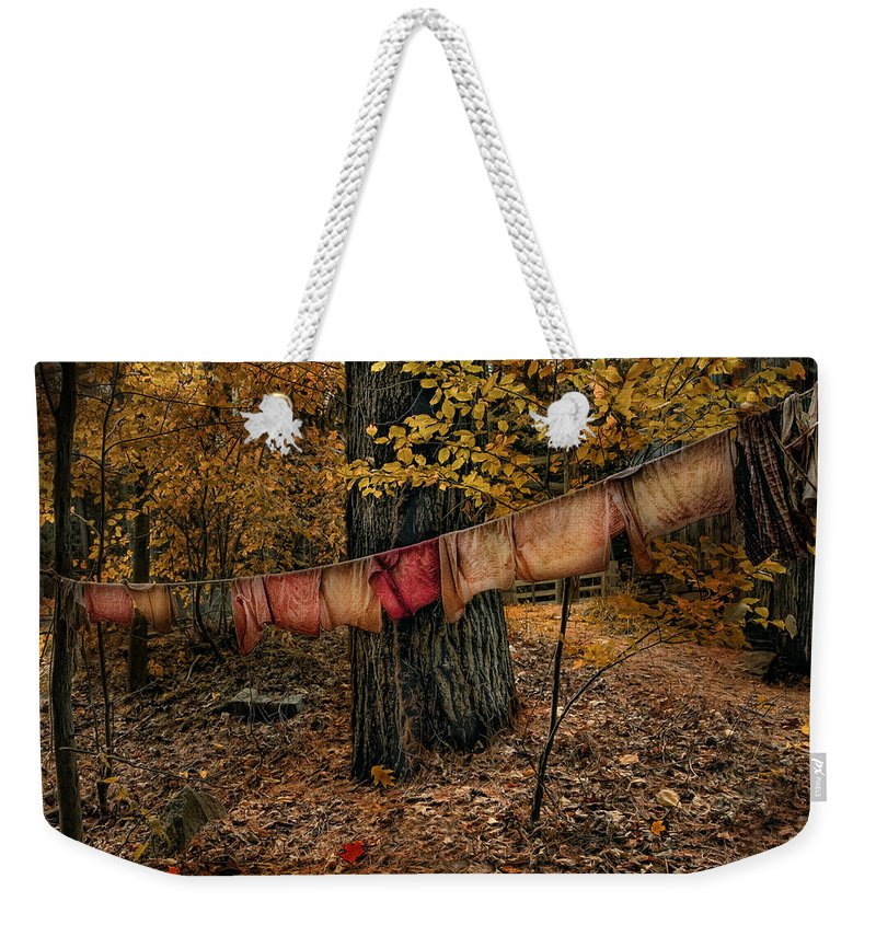 Autumn Weekender Tote Bag featuring the photograph Autumn Linens by Robin-Lee Vieira