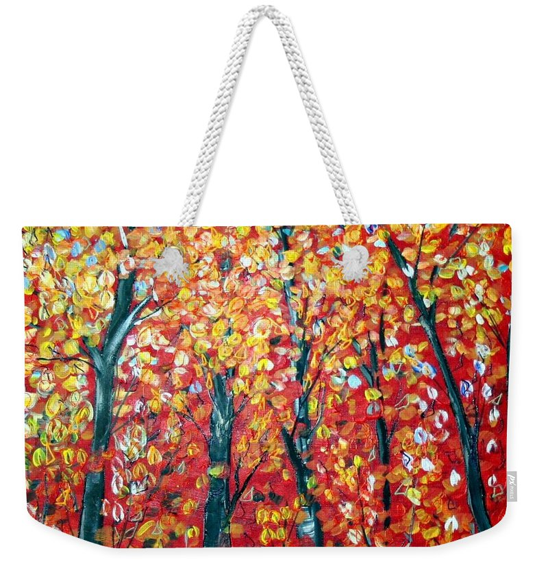 Landscape Weekender Tote Bag featuring the painting Autumn by Luiza Vizoli