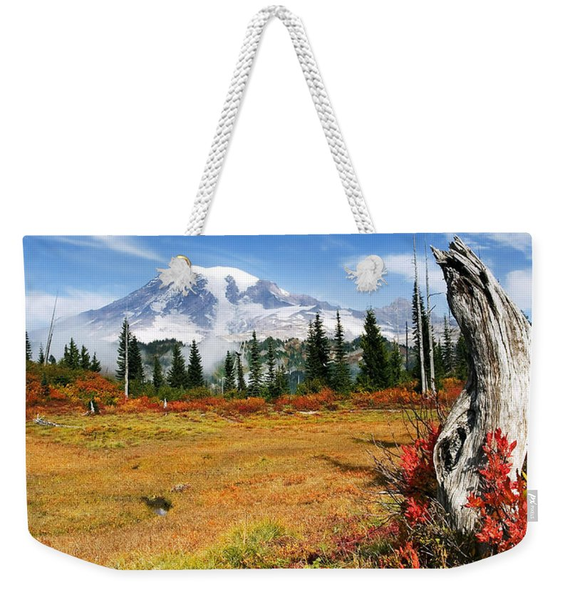 Rainier Weekender Tote Bag featuring the photograph Autumn Majesty by Mike Dawson