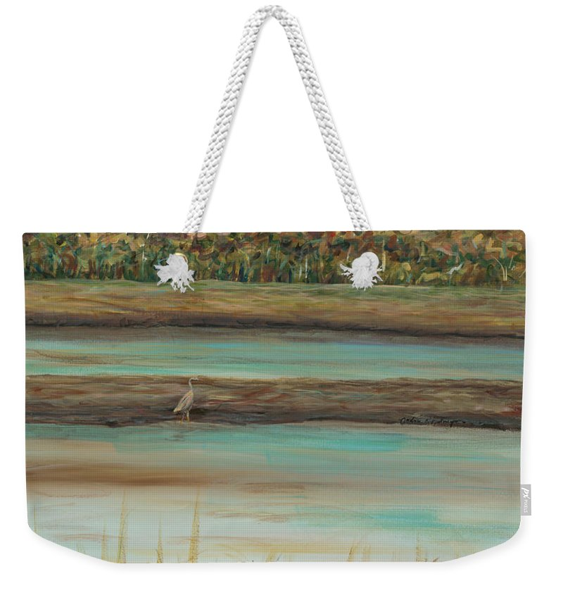 Bird Weekender Tote Bag featuring the painting Autumn Marsh And Bird by Nadine Rippelmeyer