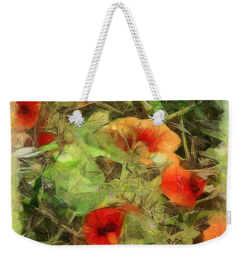Cheerful Weekender Tote Bag featuring the painting Autumn Masquerade by RC DeWinter