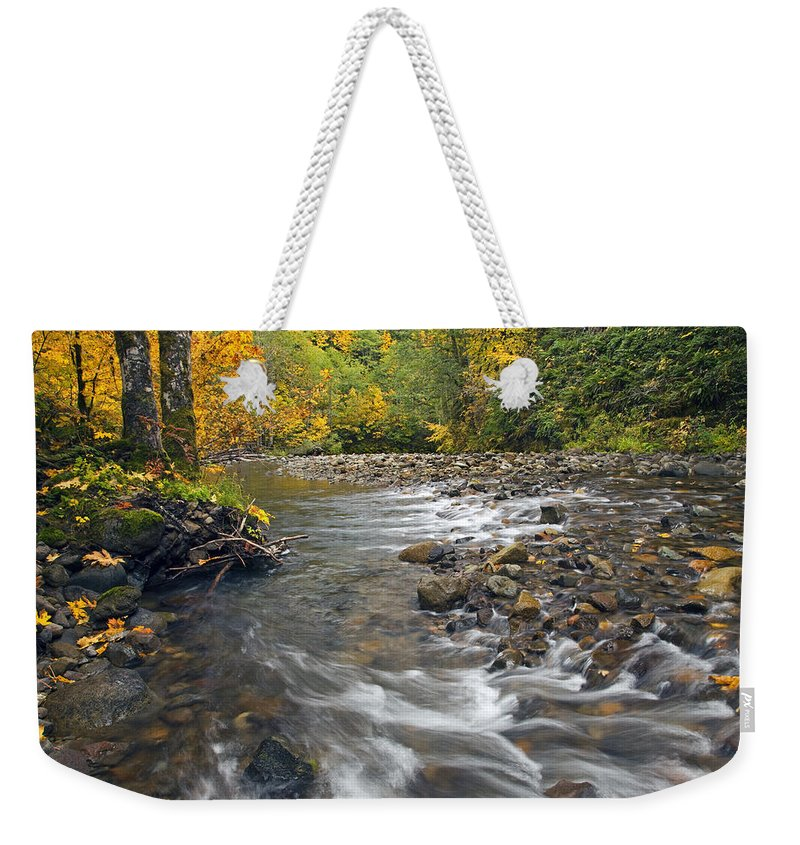 Fall Weekender Tote Bag featuring the photograph Autumn Meander by Mike Dawson