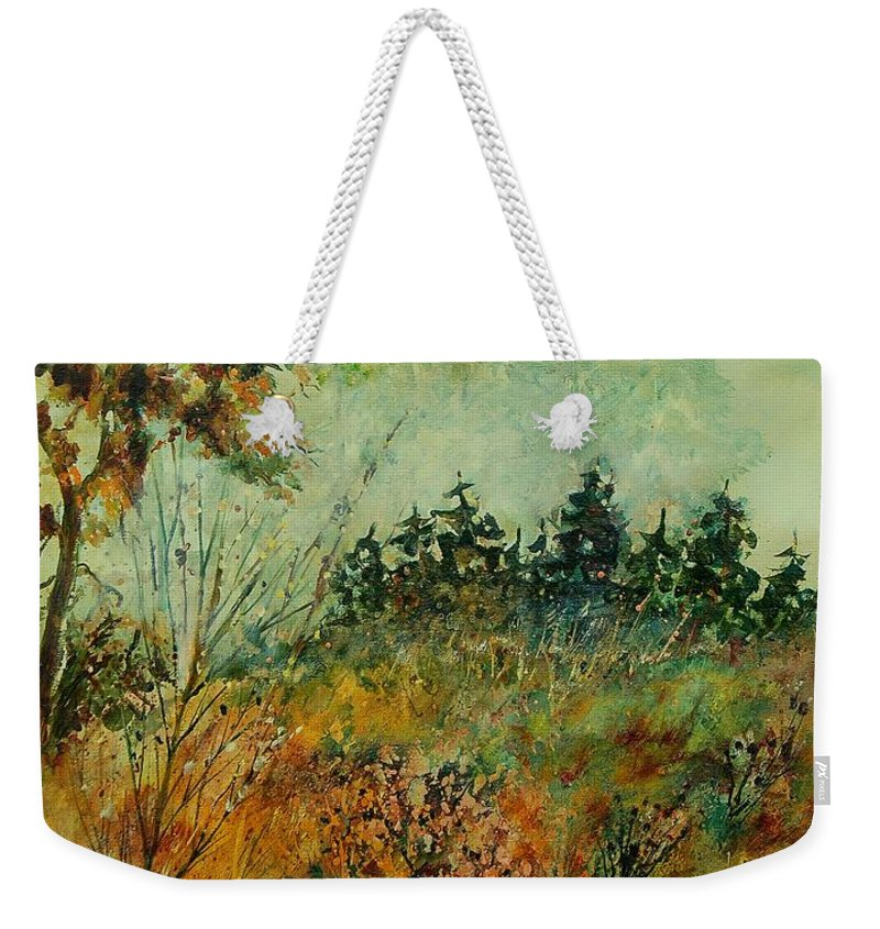 Tree Weekender Tote Bag featuring the painting Autumn Mist 68 by Pol Ledent