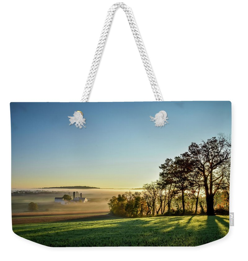 Lancaster County Weekender Tote Bag featuring the photograph Autumn Mist by James Blevins